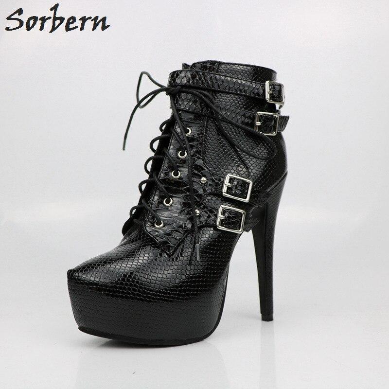 Sorbern Vintage Black Short Boots Women Platform Ankle Boots For Women High Heels Fenty Beauty Women Ankle Boots New Shoes