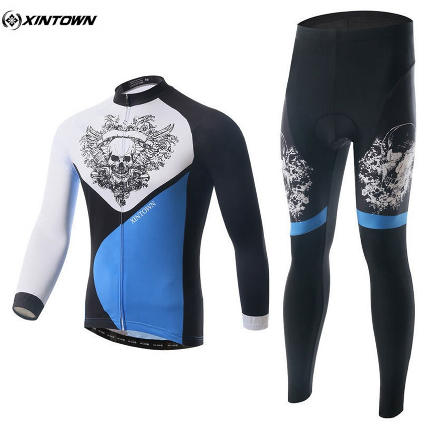 XINTOWN Men Long Sleeve Cycling Jersey Set Winter Bicycle Cycling Clothing Maillot Sportswear Bike Outdoor Riding Team Clothing