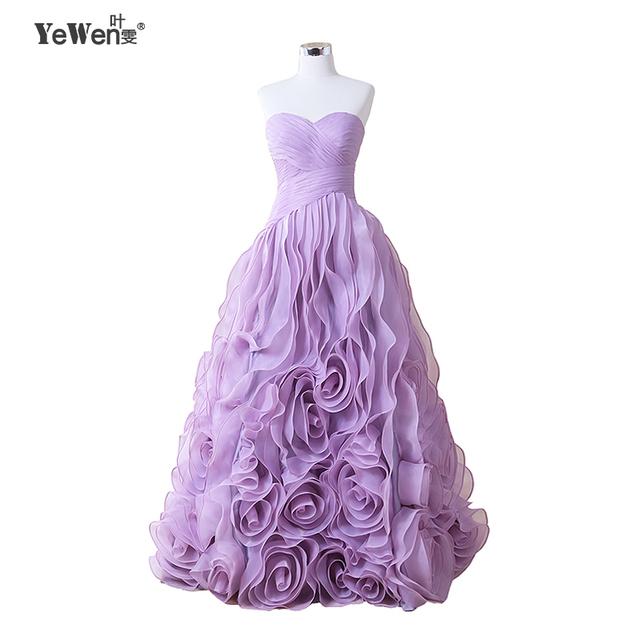 Yewen 2016 sexy vestidos de quinceañera balón vestido de organza con volantes de flores púrpura vestido de bola sweet 16 vestidos vestidos de 15 anos
