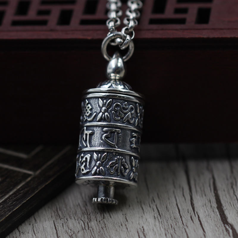 S925 pure silver jewelry six-character truth transfer tube pendant personality Thai Silver can open the black box necklace цена