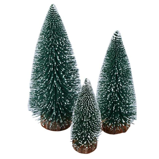 Fake Christmas Tree.Us 11 24 30 Off Funpa 3pcs Mini Artificial Christmas Tree Miniature Fake Christmas Cedar Tree Table Centerpiece With Wooden Base In Trees From Home
