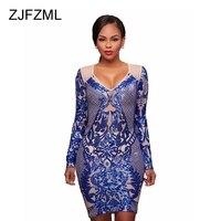 ZJFZML Women Sparkle Sequin Bandage Dresses Evening Party Long Sleeve Bodycon Pencil Dress Sexy Female Vintage