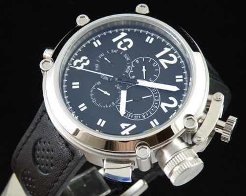 лучшая цена 50mm Parnis Big Face black dial automatic leather strap men's solid watch