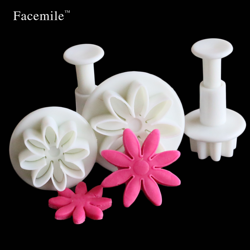 4pcs/set Daisy <font><b>Flower</b></font> Fondant <font><b>Cake</b></font> Plunger Cutter <font><b>Decorating</b></font> Baking Mold Pastry Embosser <font><b>Tools</b></font> 01062 Gift image