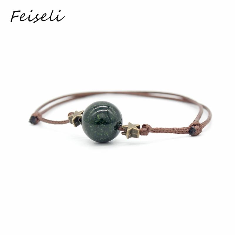 Feiseli Planetary Star Pentagram Wax Rope Adjustable Bracelet For Women Creative Multi Color Beads Charm Bracelet Gift