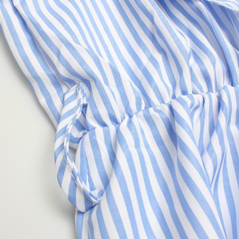 DeRuiLaDy 2017 Women summer Casual dress Ruffles V Neck Sleeveless high Waist Slim Blue Striped Dresses Sexy Backless Vestidos 14