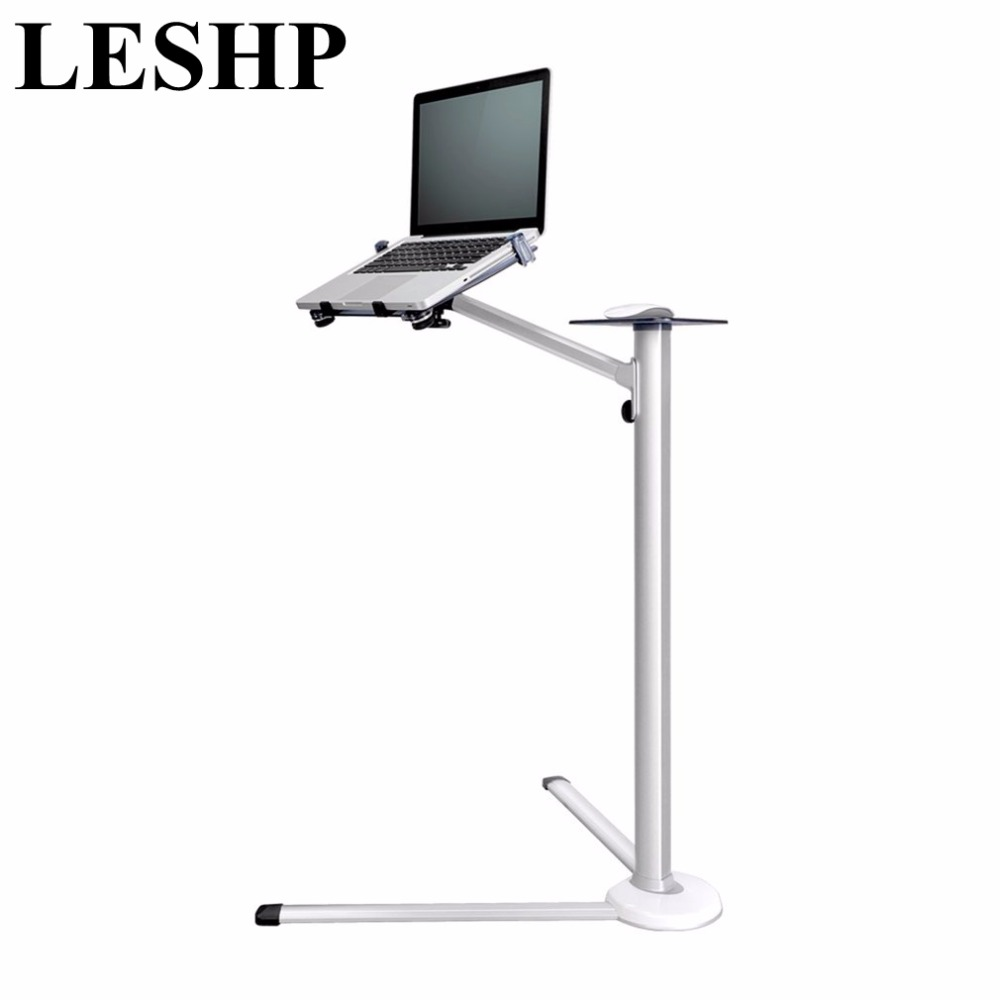 LESHP 360 Degree Rotation Height Adjustable Laptop Floor Stand With Mouse Tray Aluminum Alloy Ergonomics Laptop Desk Holder leshp adjustable double arm 27 inch monitor holder double arm tablet pc stands 360 degree rotatable computer desk free shipping