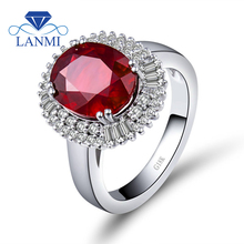 Jewelry Sets Vintage Oval 9x11mm Solid 14Kt White Gold Natural Diamond Ruby Ring SR002