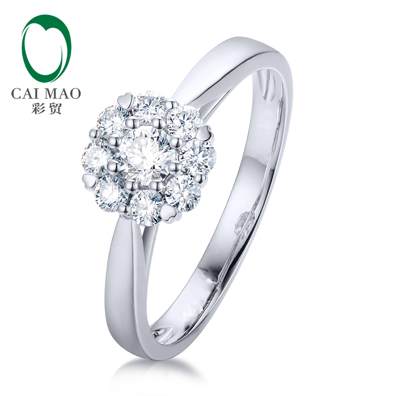 CaiMao 14kt or blanc Halo 0.37CTW bague de fiançailles en diamant naturel pour femmes bijoux