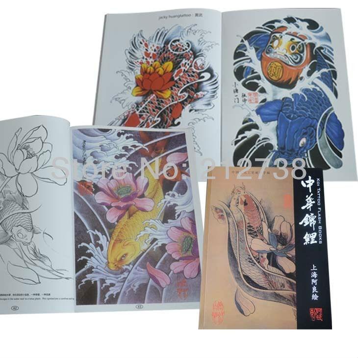China Ikan Koi Bunga A4 Sketsa Gaya Cina Tato Buku Kilat Majalah