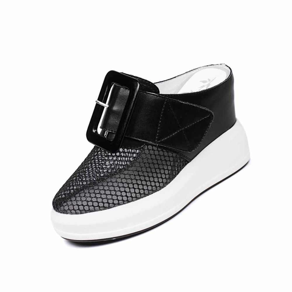 Lenkisen İnek deri yuvarlak ayak katır üzerinde kayma süper yüksek alt örgü toka dekorasyon tasarımı kadın klasik vulkanize ayakkabı L79