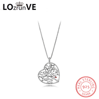 LOZRUNVE original S925 sterling silver jewelry vintage hollow heart lift tree elegant pendant necklace women wholesale
