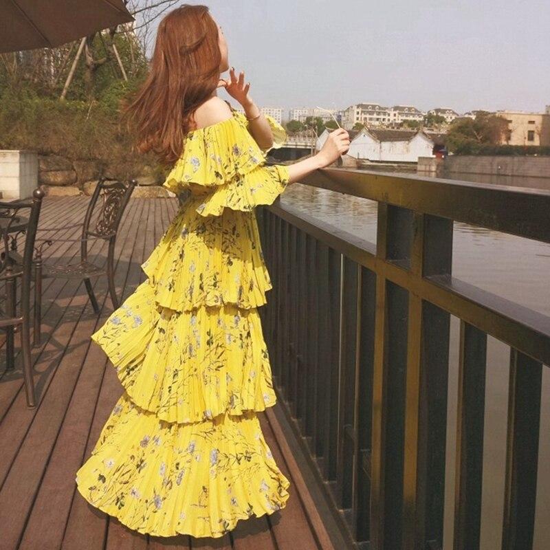 fd2fa15102383a Selbst Porträt Kleid 2018 Frauen Bohemian Floral Print Gefaltetes Gelb Boho  Strand Kleid Sommer Off Schulter Maxi Kleider Vestidos