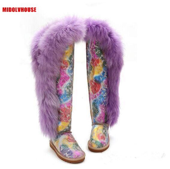 Thigh high boots women fashion style real natural fox fur and Genuine leather winter  over the knee snow boots shoes  flat