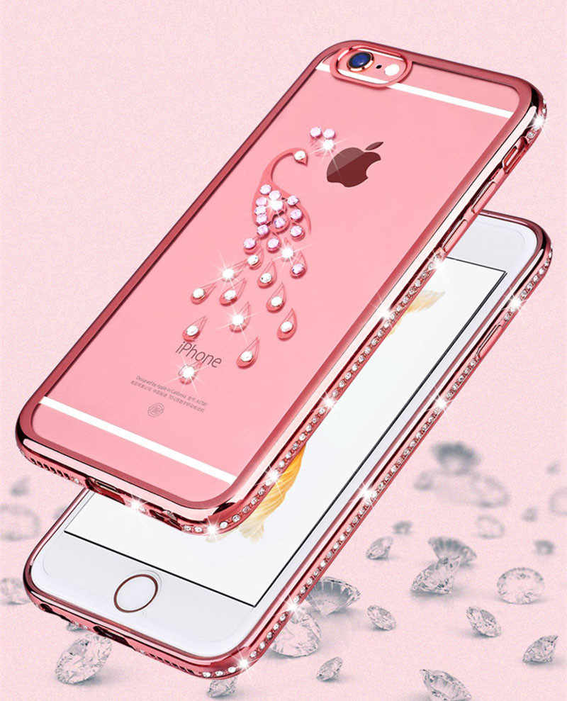 Electroplating Rhinestone TPU Phone Case for iphone 5 SE X 8 7 6 6s Plus Case Diamond  Peacock Swan Shell Transparent Cover Case