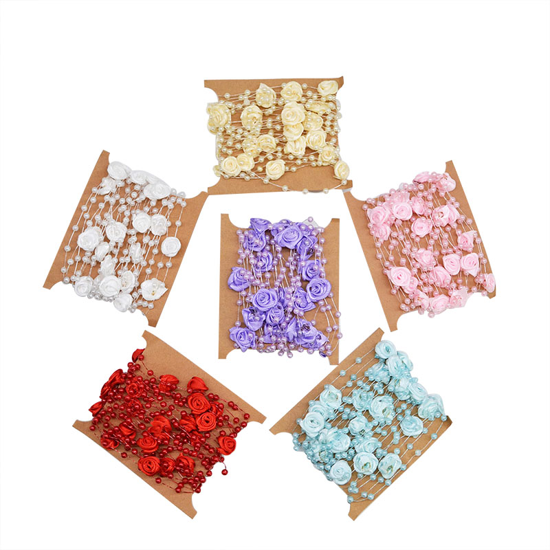 5 м/лот многоцветный леска искусственные розы цветы жемчуг бусины цепи Гирлянда для Свадебная вечеринка украшения DIY свадебный букет