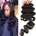 7a queen hair weave brasileiro do cabelo humano 3 pacotes com fecho # 1B Brasileiro Virgem Do Cabelo da Onda Do Corpo Pacotes Com Top de Renda fechamento