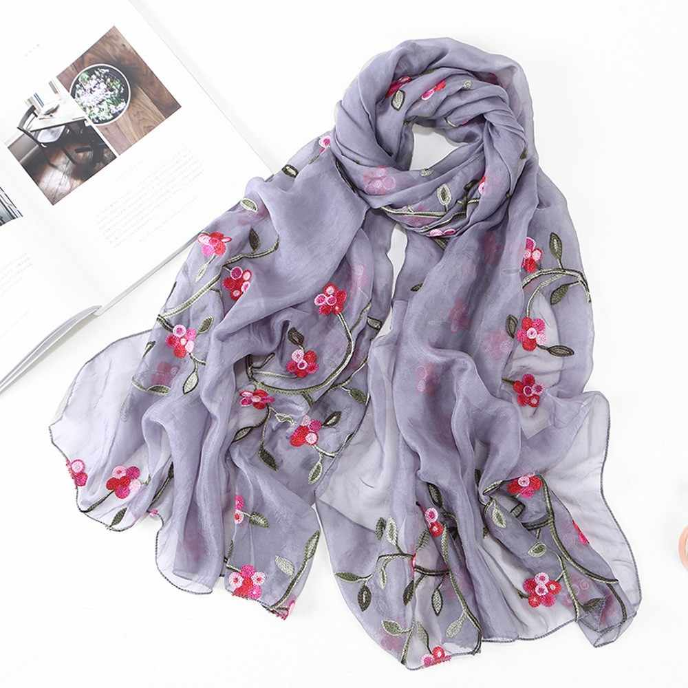 2018 Winter Women Scarf Chiffon Flower Embroidery Shawl Scarf Hijab Wrap Headband Ladies Muslim Hijabs Scarf