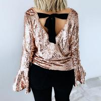 2018 Women S Sequins Tops Blouses Shirt Horn Sleeves Open Back Bow Ties Shirts Casual Party