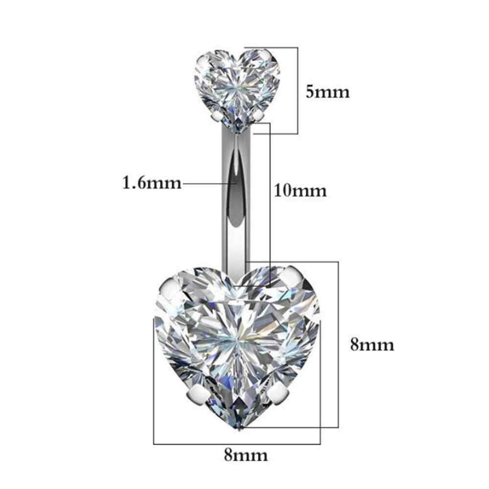Navel Earring Belly Piercing Steel Belly Button Rings Crystal Piercing Navel Heart Style Piercing Sex Body Jewelry Piercings