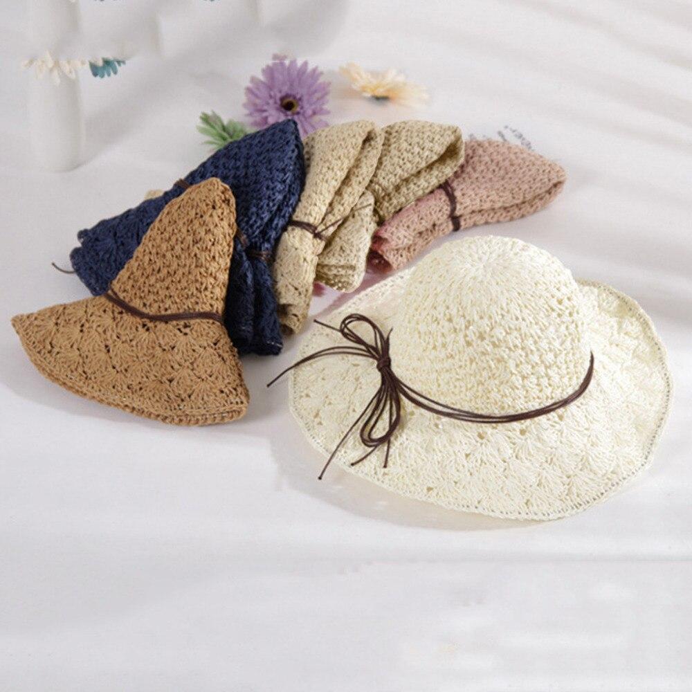 2019 summer sexy women\`s bow grass beach hat striped hood foldable rolled pretty beach hat seaside sports beach hat girl 40J5 (7)