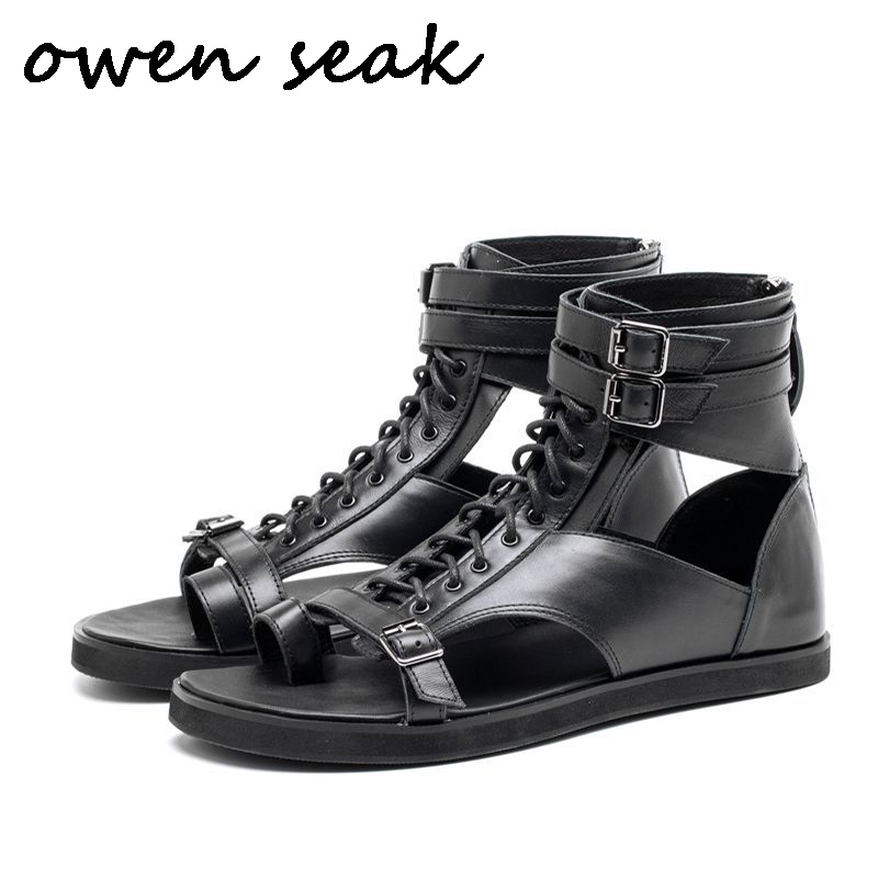 Owen Seak Men Rome Sandals Genuine Leather Gladiator Sandals High Top Buckle Strap Lace Up Slippers