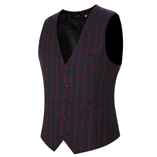 Nueva Llegada Classic Plaid Hombres Chaleco Traje de Primavera/Otoño de Los Hombres de Negocios Blazer Chaleco Rojo de Moda Capa de La Cintura Ropa de La Boda 3XL