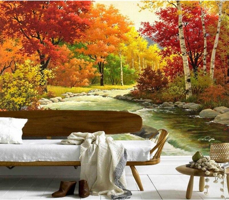 Personalizado 3d mural, Vermelho maple river forest pinturas papel de parede, papel de parede restaurante do hotel sala de estar sofá TV papel de parede quarto papel de parede