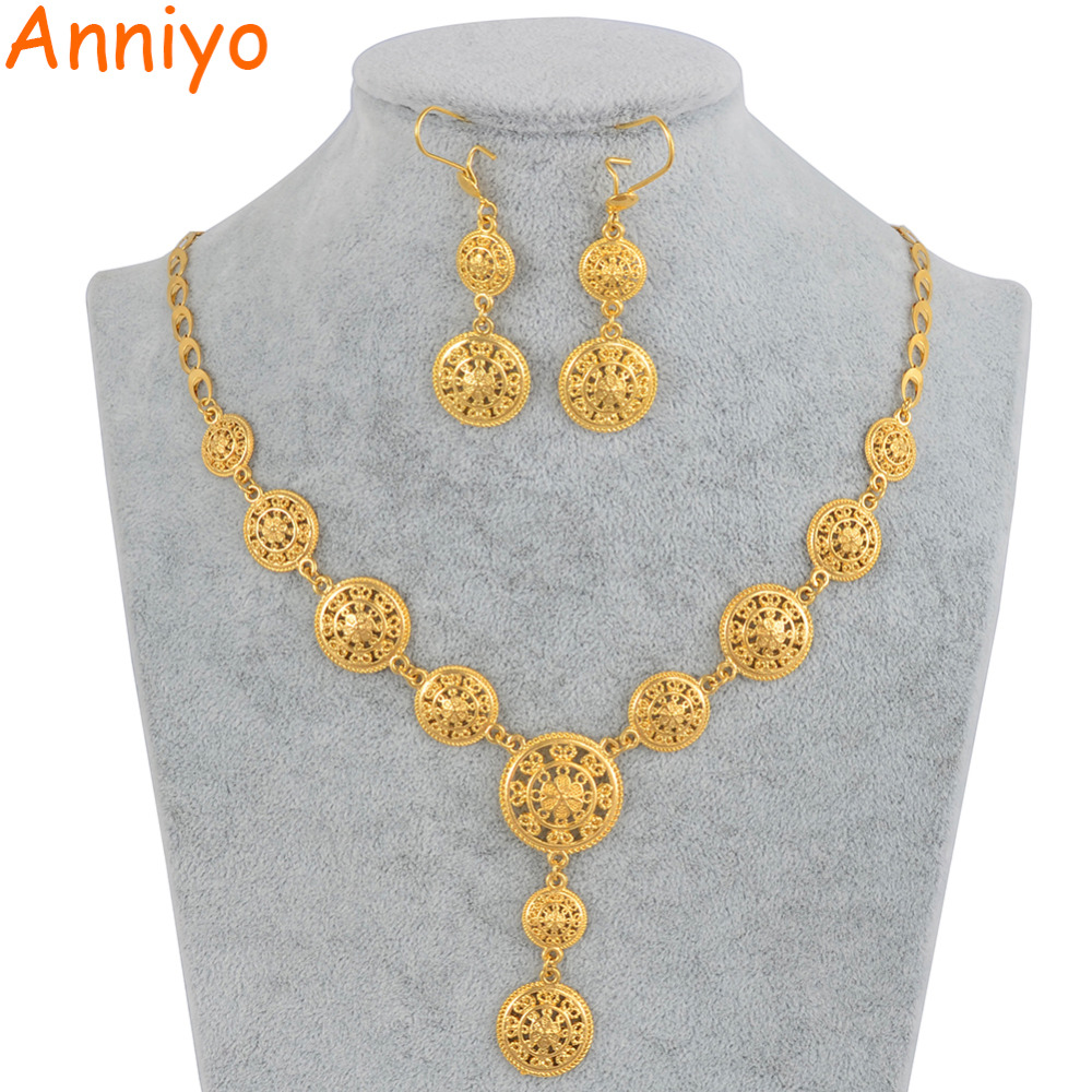 Anniyo New Dubai Necklace Earrings Arab Jewelry sets Gold Color Middle East Party Gifts Ethiopian Turkey Africa Nigeria #010912