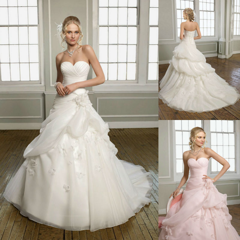 Cheap Wedding Dresses Colorado Springs: Discount Pink Organza Flower Sweetheart Chapel Train White