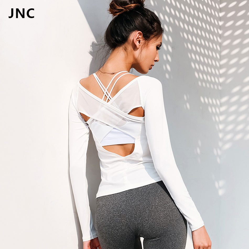 2018 NEW White Backless Cross Yoga Shirts for Women Breathable Fitness T-shirt Long Sleeves Sports Top Shirt Gym Workout Clothes