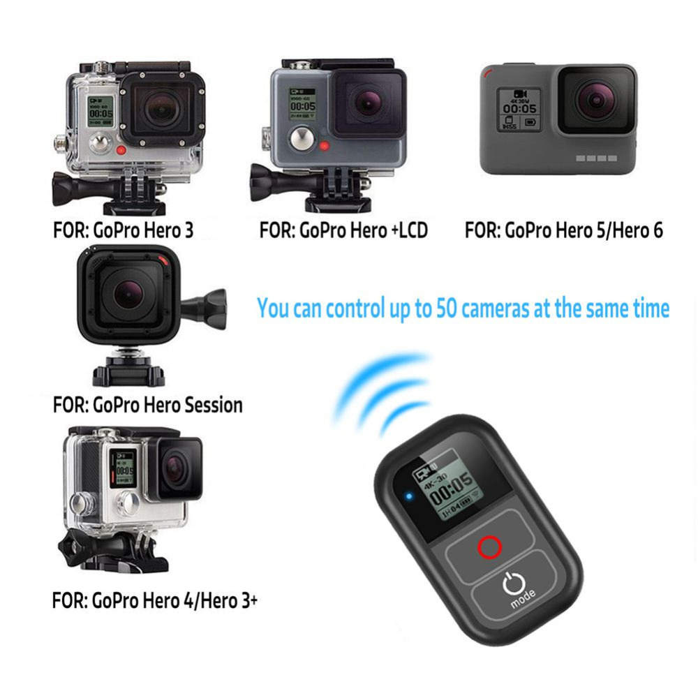 Waterproof WIFI Remote Control For Gopro Hero 6 Hero 5 4 3+ 3 / 4 Session 5 Session Camera For Gopro Hero 7 Black 180m Distance