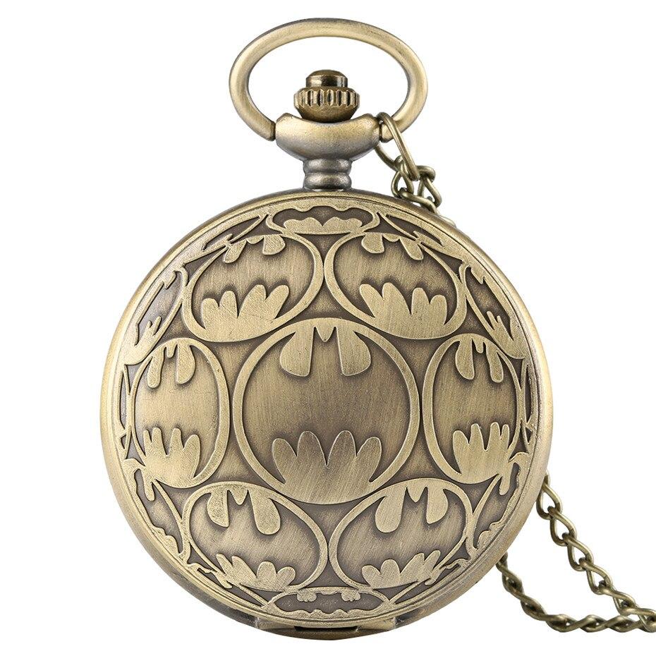 2019 New Bronze Quartz Pocket Watch Necklace Pendant Batman Casual Fob Watches Men Clock Birthday Gifts For Kids Boys