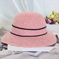 2016 New Summer Hat women  Flowers Bow Straw Sun Hats for Girl Outdoor Beach Floppy Wide Brim Panama Caps Chapeu