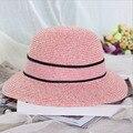 2016 Nuevo Sombrero de Verano las mujeres Flores Bow Floppy Ala Ancha de Paja Sombreros de Sun para Niña de Playa Al Aire Libre Caps Chapeu Panamá