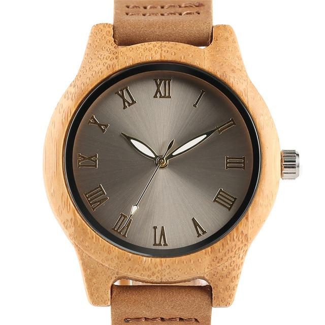 Reloj de madera bambú para mujer combinación metal 1