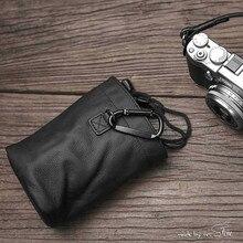 Mais novo sr. stone artesanal caso da câmera de couro genuíno saco na cor preta