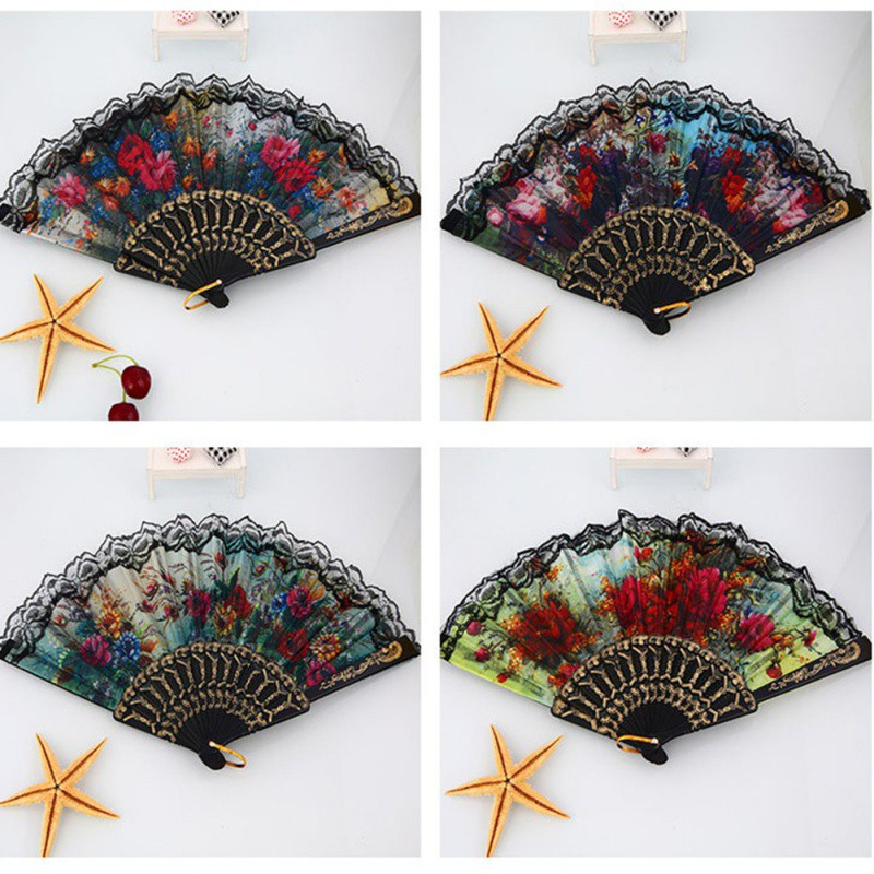1pcs Spanish European Flower Bamboo Folding Fan Gift Bag Wedding Favors And Gifts Party Decoration Craft Supplies