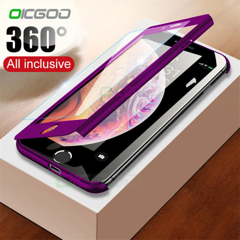 360 Full Cover Phone Case For IPhone X 8 6 6s 7 Plus 5 5s SE Protective Cover For IPhone 7 8 Plus X Xr Xs Max Case Cover Glass