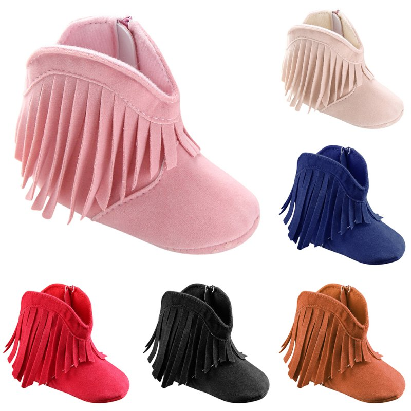 Moccasin Baby Girls Fringe Shoes Infant Soft Soled Anti-slip Booties Kids Toddler Prewalkers 0-1Year