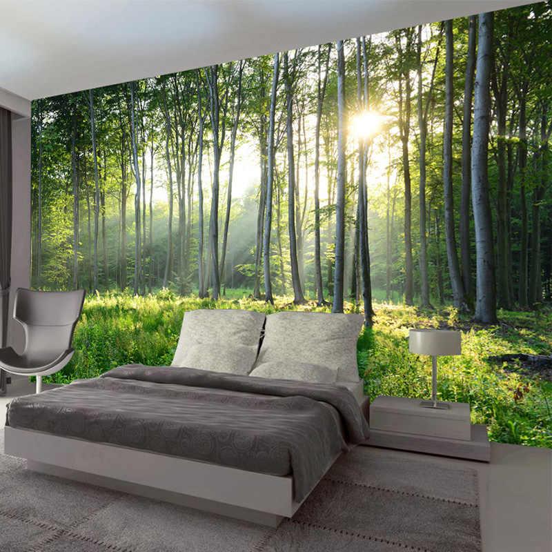 Foto Kustom Wallpaper 3D Hutan Hijau Pemandangan Alam Besar Lukisan Dinding Ruang Tamu Sofa Kamar Tidur Modern Lukisan Dinding Dekorasi Rumah