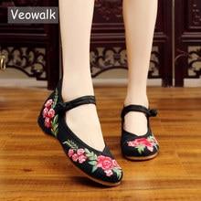 Zapatillas de Ballet Veowalk de lona bordadas clásicas hechas a mano, bailarinas chinas cómodas para mujer, zapatos bordados para mujer