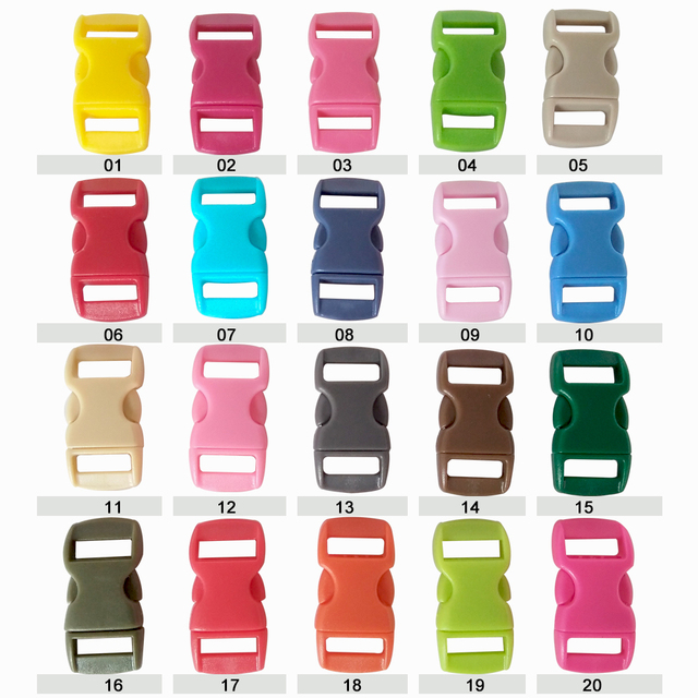 "YOUGLE 100 pcs 3/8"" Contoured Curved Side Release Plastic Buckle for Paracord Bracelet Bag Backpack"