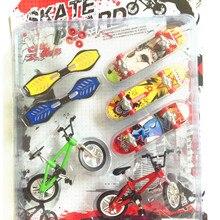 7 шт./компл. сплав Tech скейтборд трюке Deck игрушка профессиональные инструменты граффити модная куртка с надписью «mini Пальчиковый Скейтборд+ палец велосипед наборы для ухода за кожей