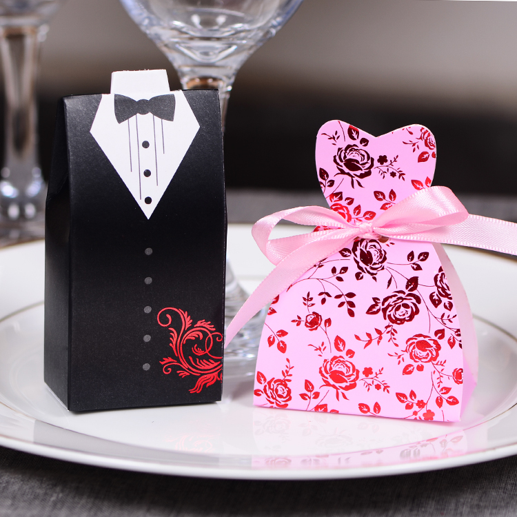 Inexpensive Wedding Gifts For Bride And Groom: 50pcs Bride Groom Wedding Favor Candy Box With Ribbon