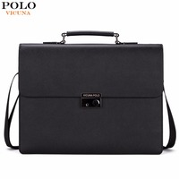VICUNA POLO Business Man Bag Theftproof Lock Black Leather Briefcase For Man Solid Bank OL Mens