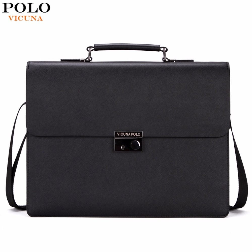 VICUNA POLO Business Man Bag Theftproof Lock Black Leather Briefcase For Man Solid Bank OL Mens Briefcase Bag Dress Man Handbag guapabien fashion trapeze handbag women pu leather metal lock mini bag solid black gray ol dress shoulder bag for ladies