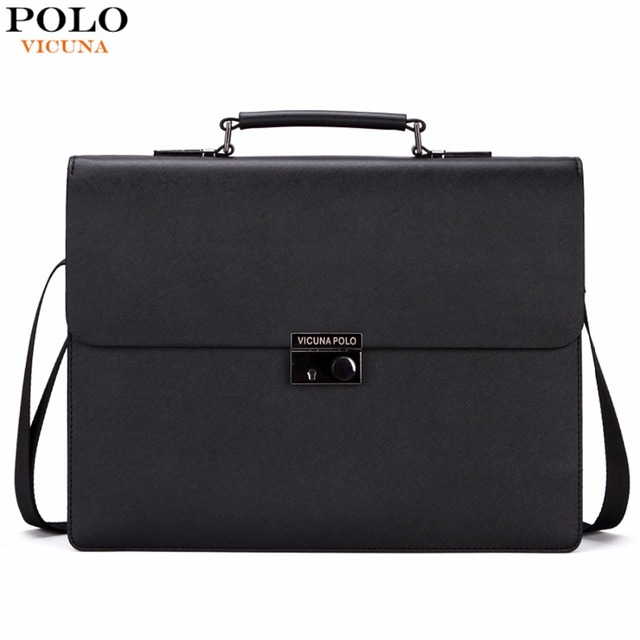 833e46904fdd VICUNA POLO Business Man Bag Theftproof Lock Black Leather Briefcase For  Man Solid Bank OL Mens
