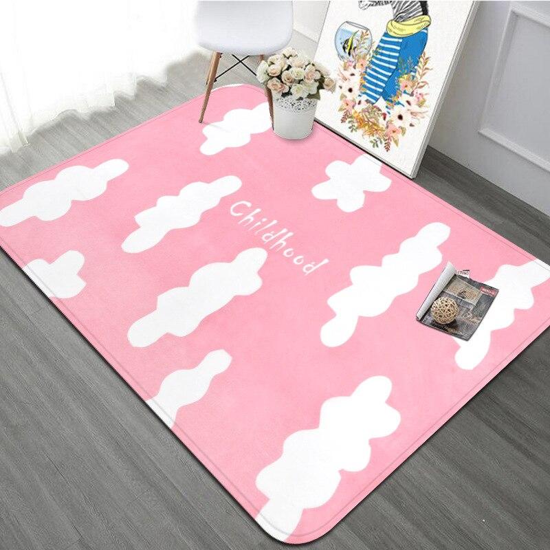 100X150 CM enfance Style bande dessinée nuages tapis tapis pour salon enfants chambre rose gris Rectangle tapis enfants jouer tapis de sol