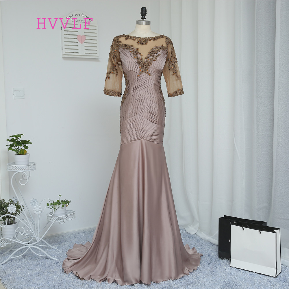 Plus Size Brown 2019 Mother Of The Bride Dresses Mermaid Half Sleeves Crystals Wedding Party Dress Mother Dresses For Wedding
